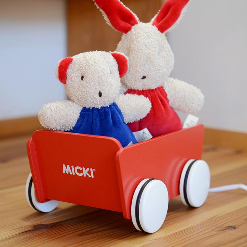 〈1才-〉【引いて歩く玩具】MICKI ミニワゴン 赤