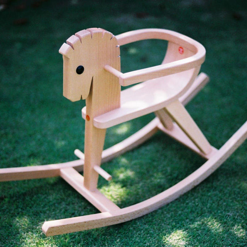 〈8ヶ月-〉【はじめての乗り物】枠付木馬 白木