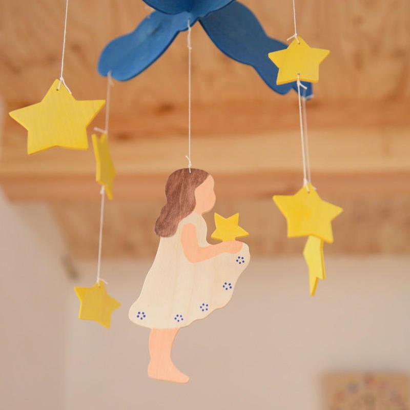 〈3ヶ月-〉【ベビー/見る遊び】モビール 星の銀貨