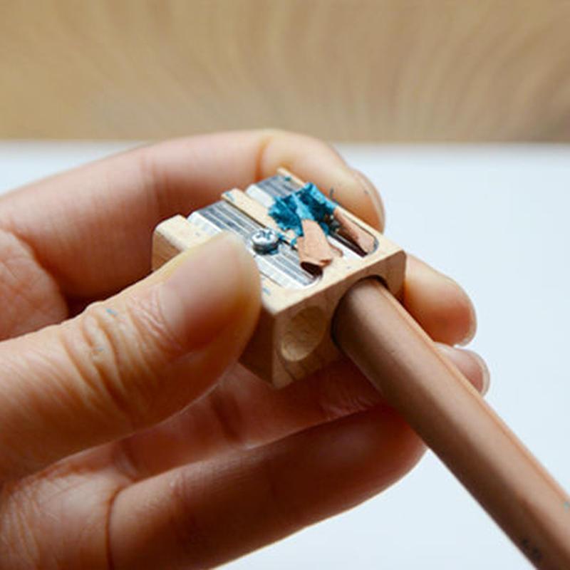 【パーツ/鉛筆削り】ブナ材ツインホール
