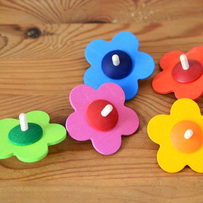 〈2才-4才〉【コマ】【はじめてのコマ】【指先を使う玩具】花コマ 各色
