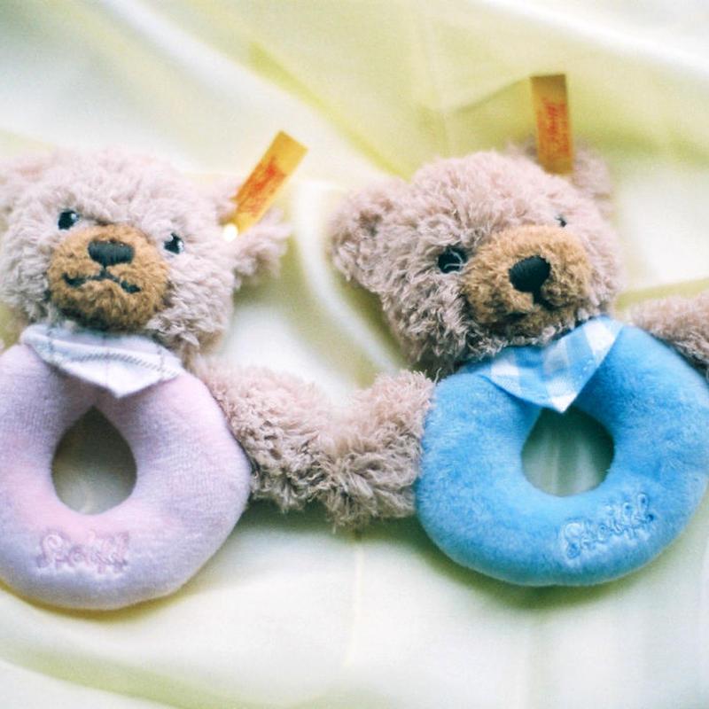 〈4ヶ月-〉【ベビー/ラトル】【はじめてのぬいぐるみ】シュタイフ おやすみくまちゃんグリップトイ ピンク/青