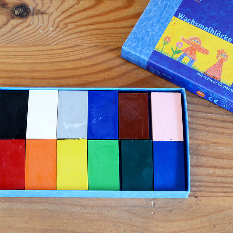 〈2才-〉【クレヨン】みつろうブロッククレヨン 12色紙箱