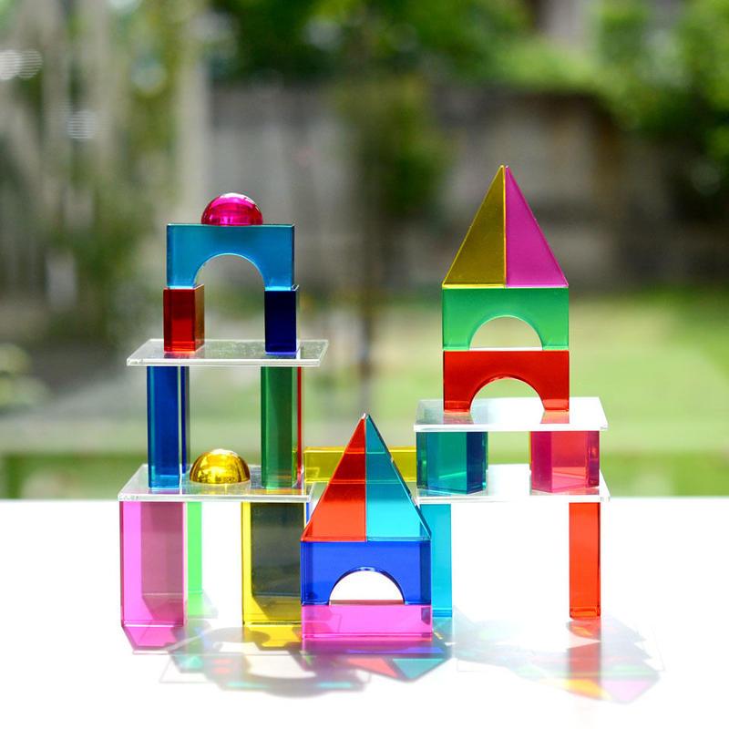 〈4才-〉【追加の積木】【アクリル製の積木】Luxyブロック カラー (28ピース)