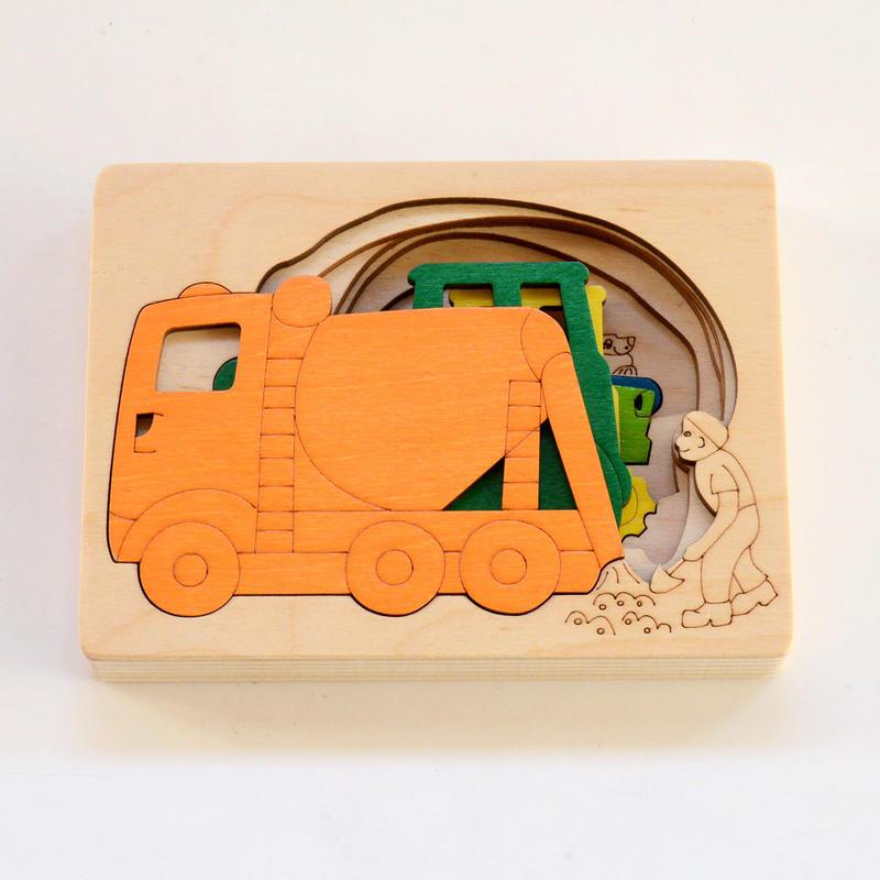〈2才-3才〉【重なりパズル】5重パズル・はたらく車(5ピース)