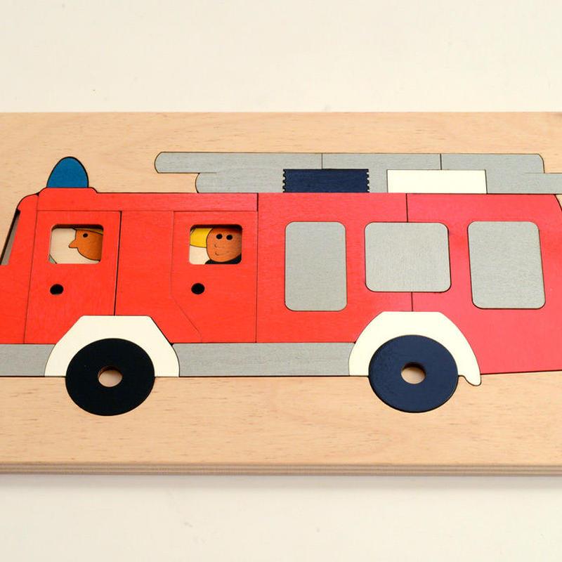 〈4才-5才〉【重なりパズル】2重パズル・消防車(43ピース)