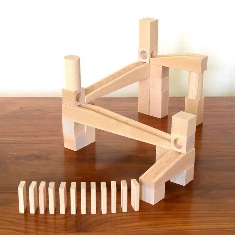 〈4才-〉【玉の道づくり玩具】【ドミノ】HABA 組立てクーゲルバーン・スターターセット