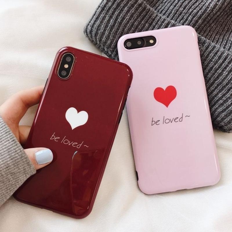 【M358】★ iPhone 6 / 6s / 6Plus / 6sPlus / 7 / 7Plus / 8 / 8Plus / X / XS★ iPhone ケース ハート 可愛い Be Loved