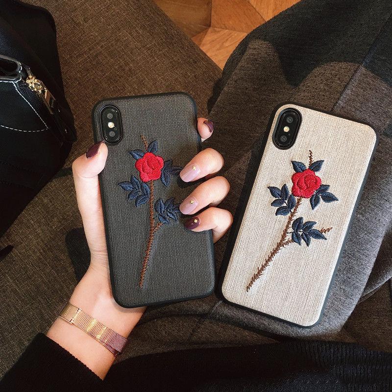 【M389】★ iPhone 6 / 6s /6Plus / 6sPlus / 7 / 7Plus / 8 / 8Plus / X ★ シェルカバー ケース 花 刺繍 グレンチェック オトナ
