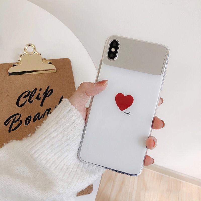 【N266】★iPhone 6 / 6s / 6Plus / 6sPlus / 7 / 7Plus / 8 / 8Plus / X / Xs ★ Heart iPhone ケース ミラーハート