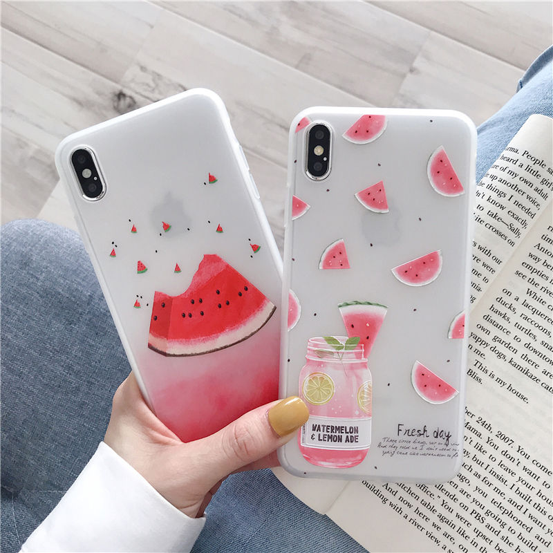 【N436】★ iPhone 6 / 6sPlus / 7 / 7Plus / 8 / 8Plus / X /XS /XR/Xs max★ シェルカバーケースWatermelon