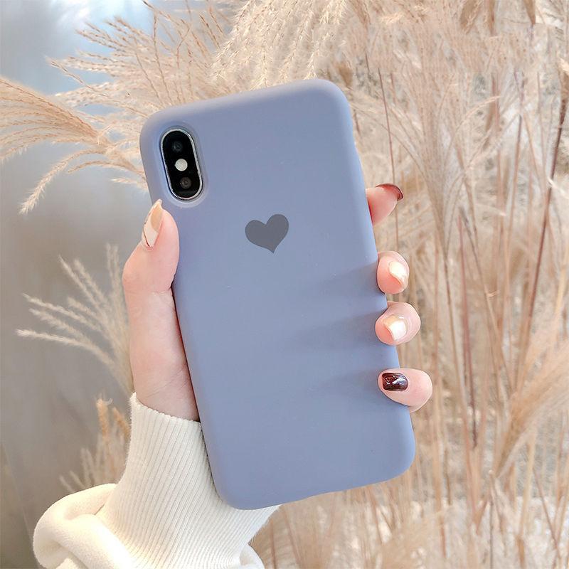 【N214】★ iPhone 6 / 6sPlus / 7 / 7Plus / 8 / 8Plus / X/ XS / Xr /Xsmax ★ シェルカバース  かわいい ハート in Purple