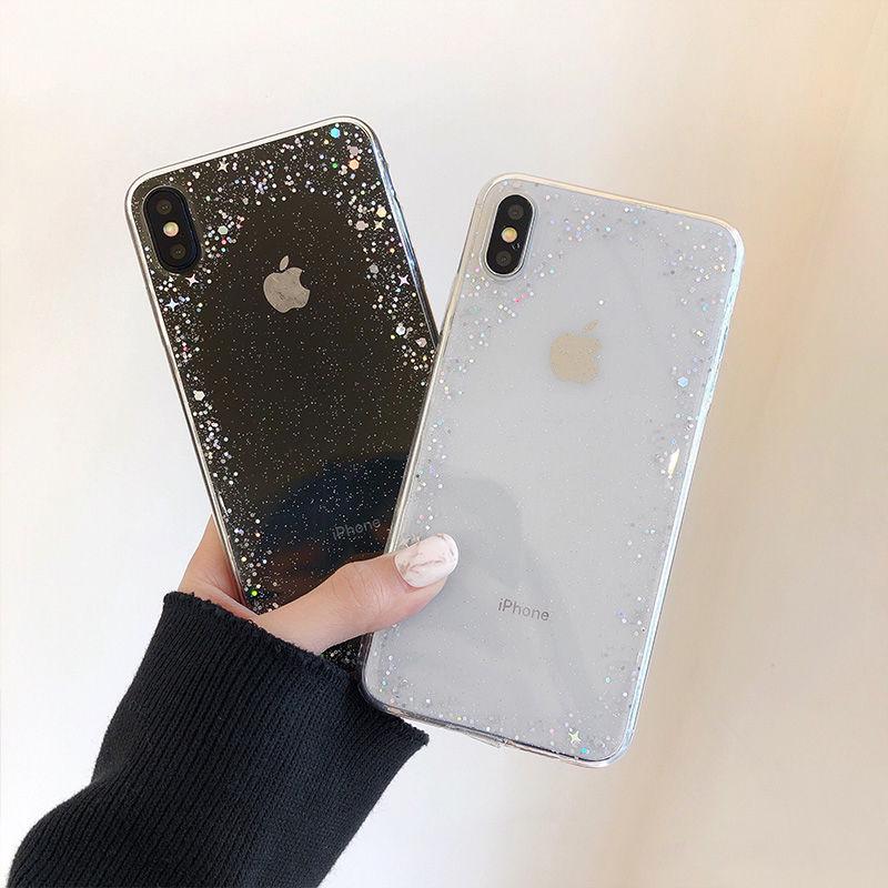 【N181】★ iPhone 6 / 6sPlus / 7 / 7Plus / 8 / 8Plus / X/ XS / Xr /Xsmax ★ シェルカバー ケース Glitter  Clear
