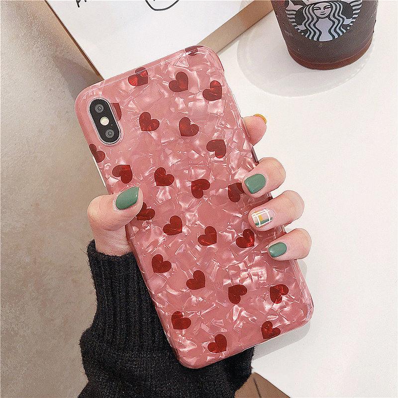 【N205】★ iPhone 6 / 6sPlus / 7 / 7Plus / 8 / 8Plus / X /XS /XR/Xs max★ シェルカバーケース Pink Love