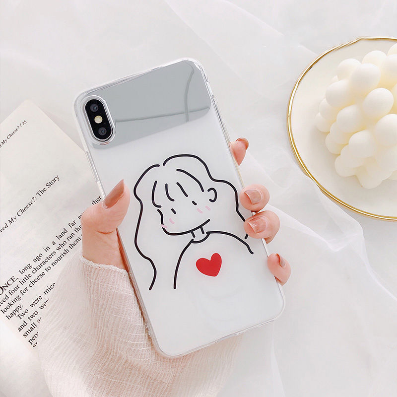 【N292】★iPhone 6 / 6s / 6Plus / 6sPlus / 7 / 7Plus / 8 / 8Plus / X / Xs ★iPhone ケース ミラー girl