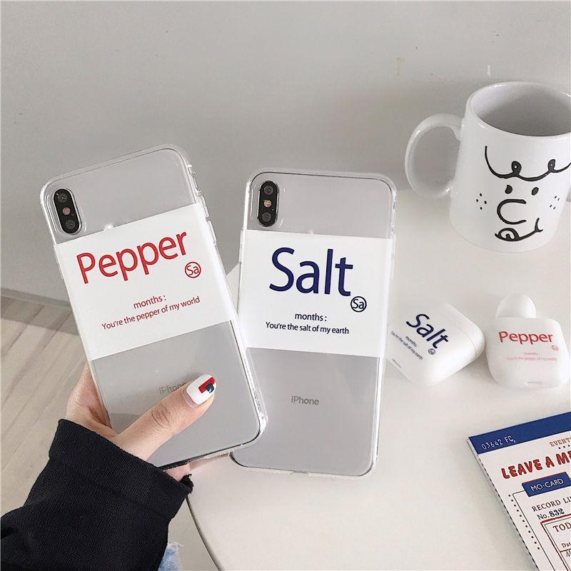 【N503】★ iPhone 6 / 6sPlus / 7 / 7Plus / 8 / 8Plus / X /XS /XR/Xs max★ シェルカバーケース Salt or Pepper