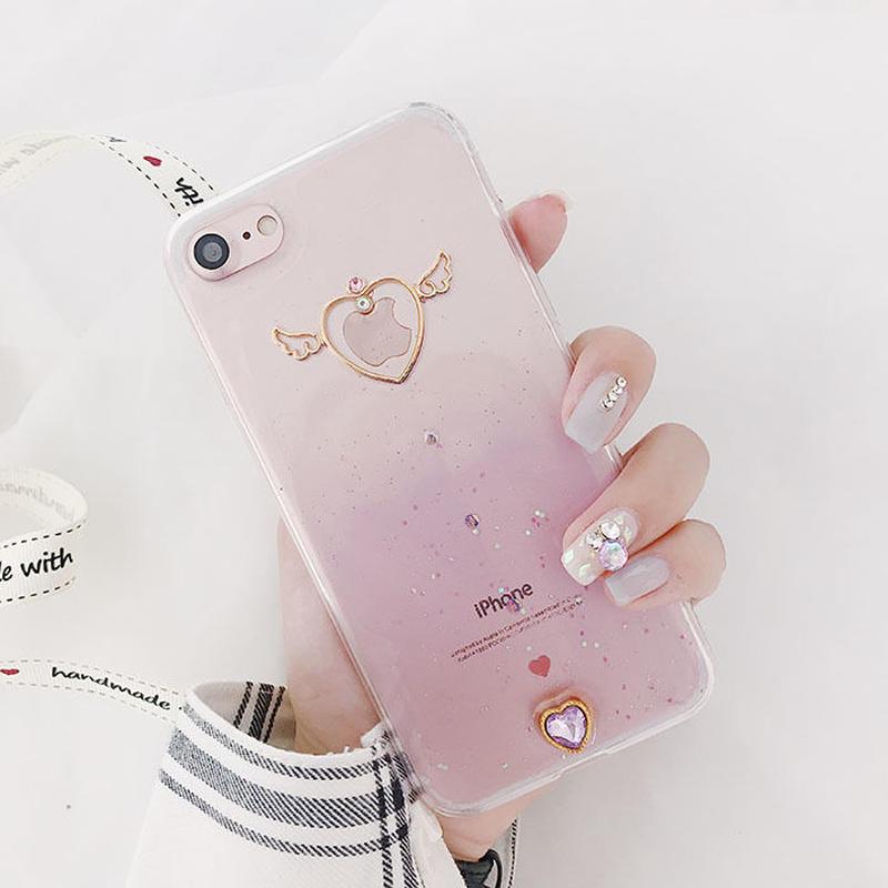 【M370】★ iPhone 6 / 6Plus / 6sPlus / 7 / 7Plus / 8 / 8Plus / X /Xs ★iPhone ケース ハート 天使の翼 ポップ Angel
