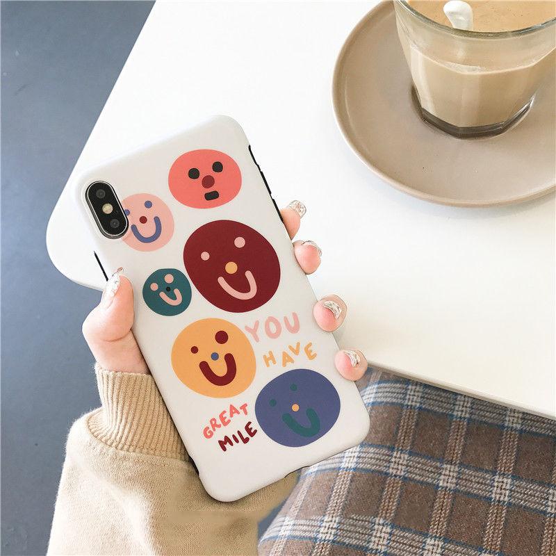 【N143】★ iPhone 6 / 6sPlus / 7 / 7Plus / 8 / 8Plus / X/ XS / Xr /Xsmax ★ シェルカバース Emoji Happy