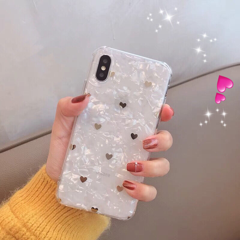 【N138】★ iPhone 6 / 6sPlus / 7 / 7Plus / 8 / 8Plus / X/ XS / Xr /Xsmax ★ シェルカバース  かわいい ハート ♡