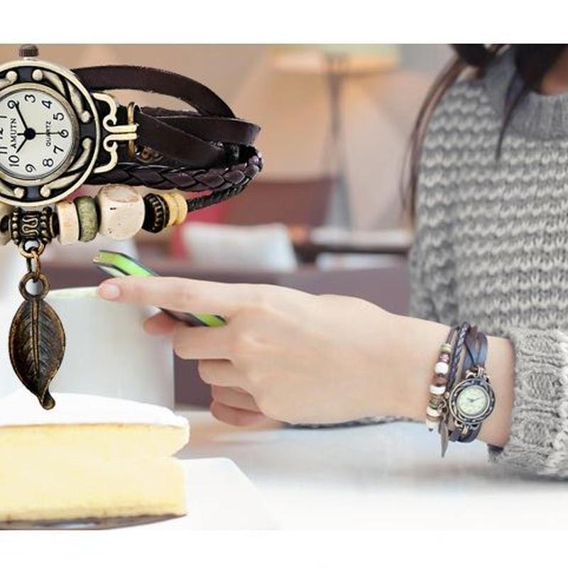 アンティーク風 レディース  ブレスレット ウォッチ 腕時計 レトロ メッシュ 革 ベルト