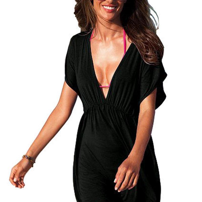 ビーチウェア チュニック  ビーチドレス UVカット オーバーウェア  ビーチワンピース  パレオ 体系カバー