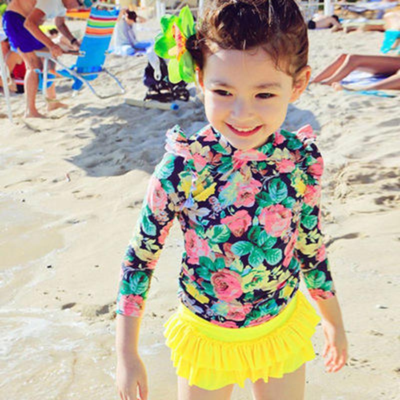 大き花柄 3点セット 女児 女の子 水着 ラッシュガード  女の子 ビキニ 長袖 セパレート キッズ 水着 可愛い チュチュスカート 水着 紫外線防止