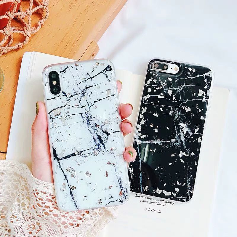 White Black Marble with Silver Glitter iPhone case