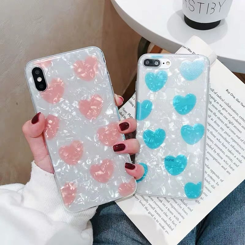 Blue Pink Hearts Shell iPhone case