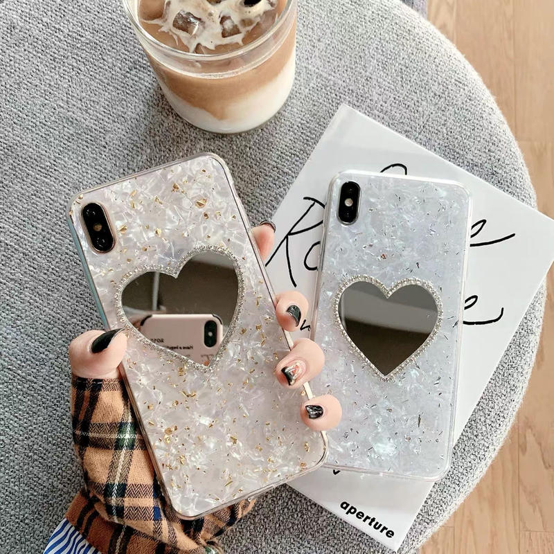 Sliver Gold Heart Mirror iPhone case