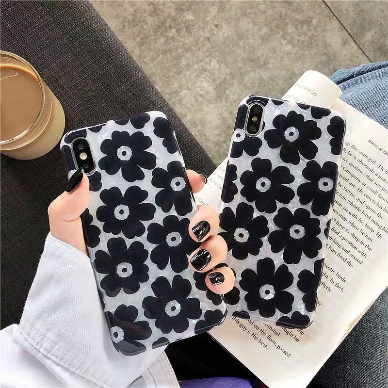 Black Flower Shell iPhone case