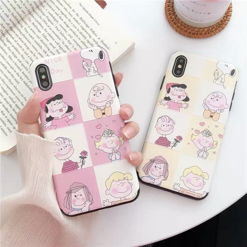 Pink Yellow Peanuts Family iPhone case