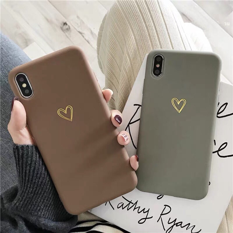 Brown Grey Heart iPhone case