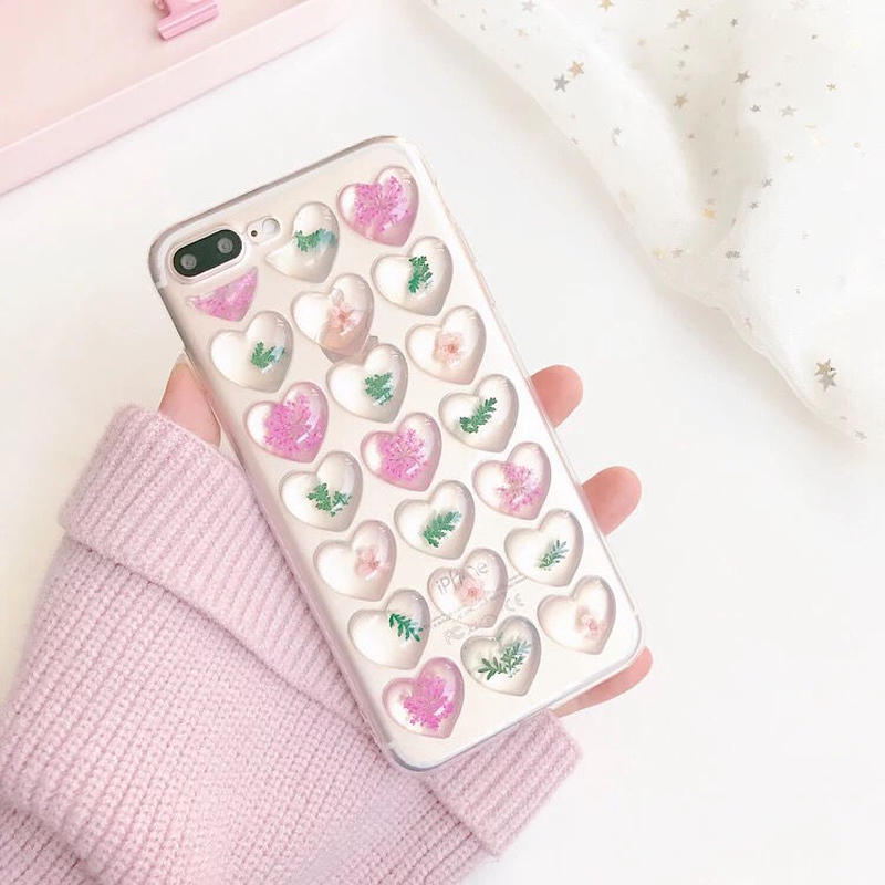 Dry Flower II Clear Heart iPhone case