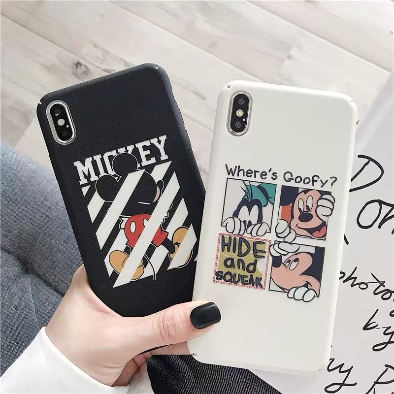 【Disney】Black White Mickey Strip iPhone case