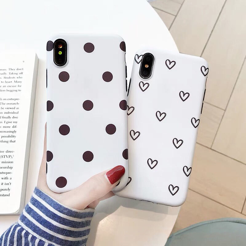 Red Dots/Hearts Shell iPhone case