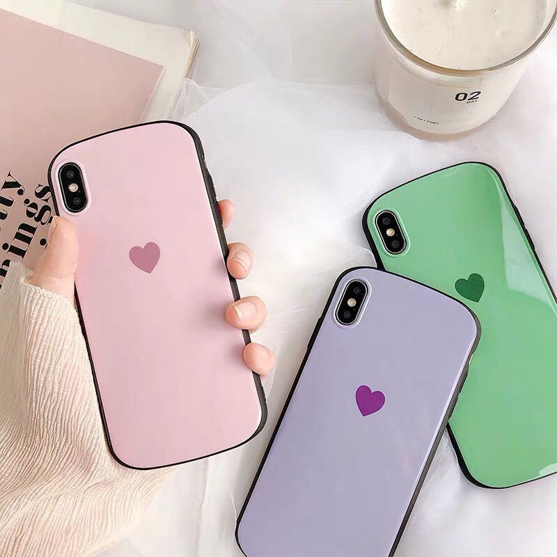 Pastel Heart Black Frame iPhone case