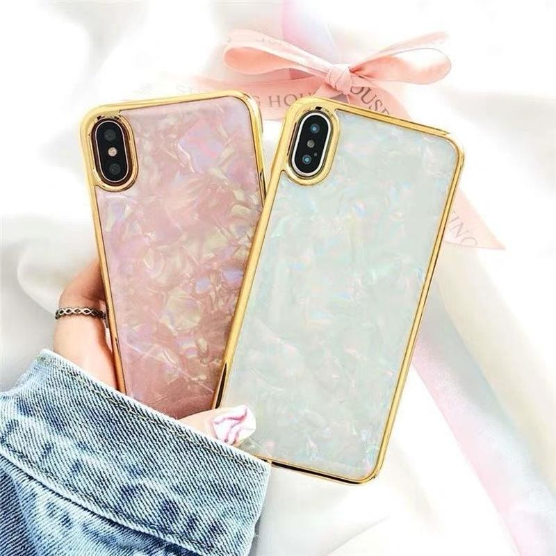 White Pink Pearl Shell Gold side iPhone case