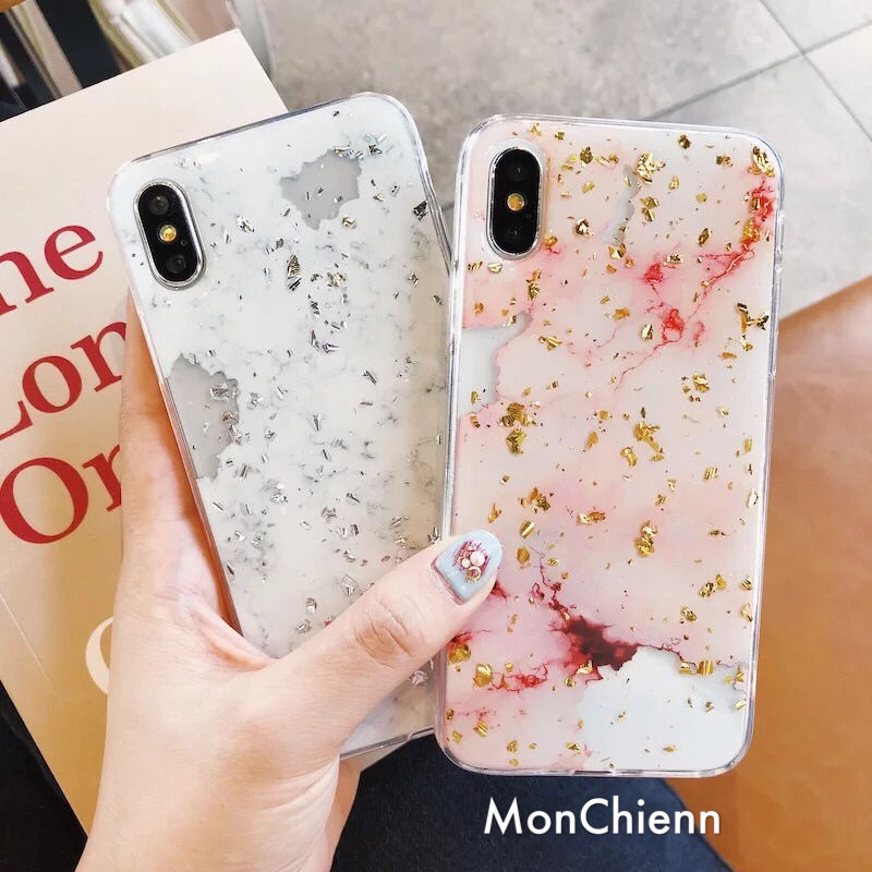 Marbling designed glitter iPhone case