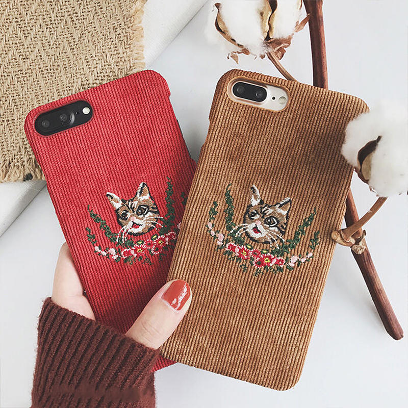 Cats embroidered iPhone case