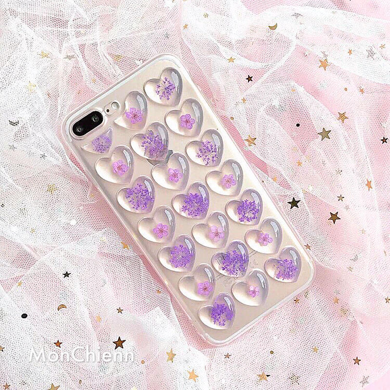 Dry Flower Clear Heart iPhone case