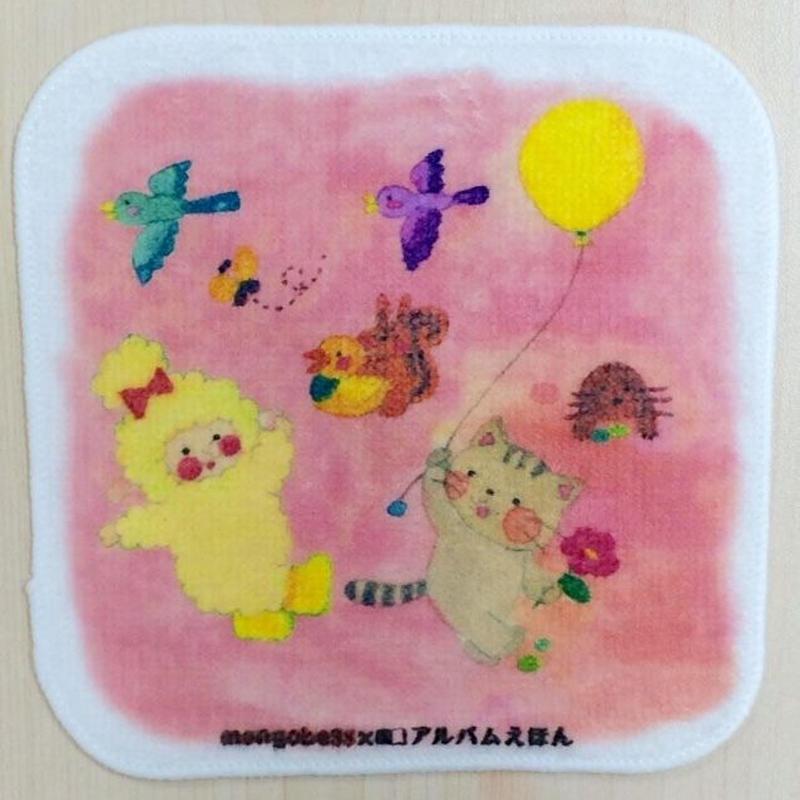 モンゴベス×アルバムえほんコラボ【ミニハンカチ】 ひつじさんと猫ちゃん_MA- 03C