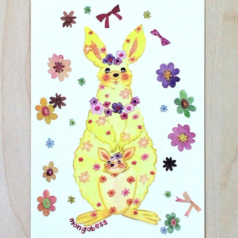 ポストカード〈バラ売り〉 お花のカンガルー_PC-Y093