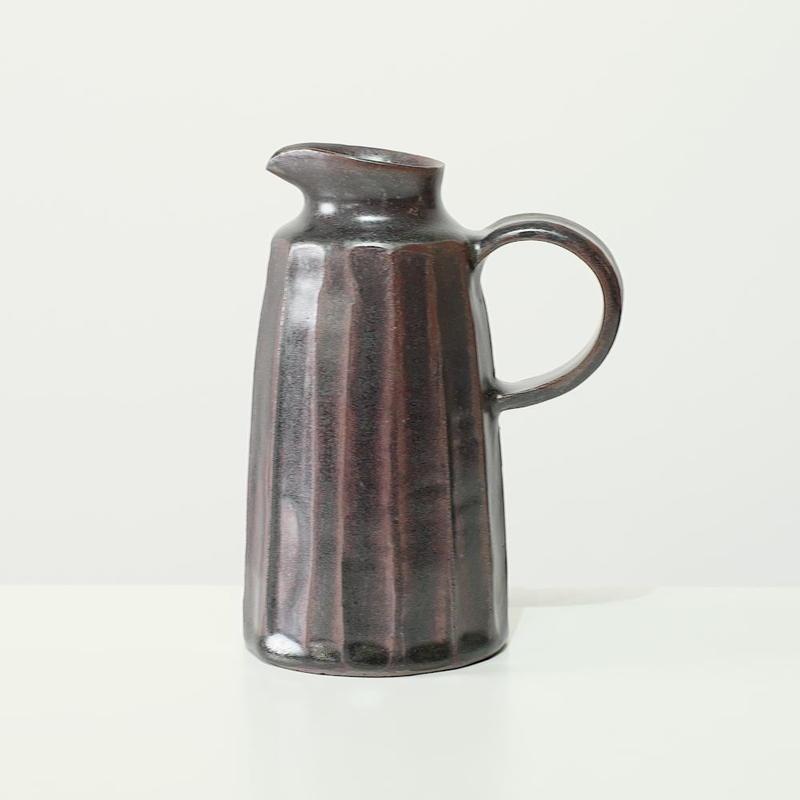 比地岡 陽子 銀彩釉 ピッチャー2(実物写真)