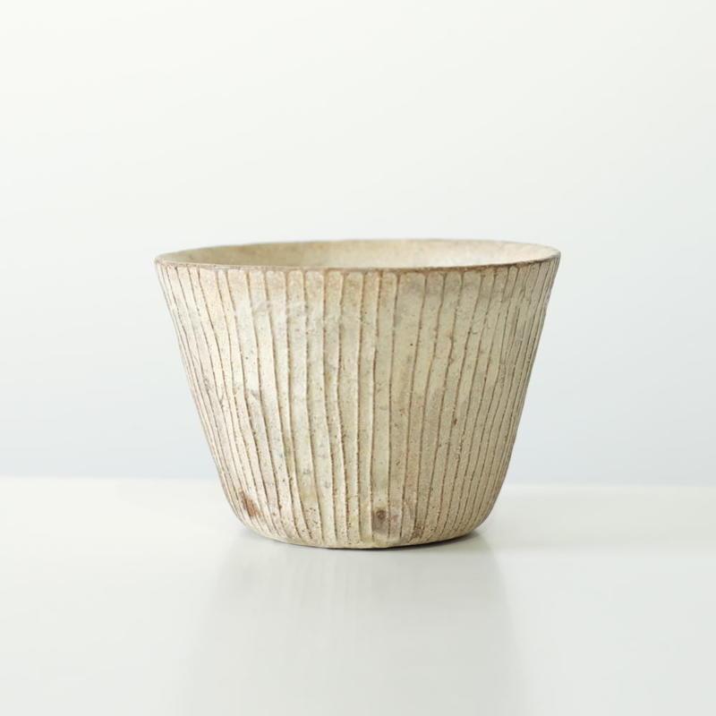 鈴木 進 粉引線紋フリーカップ(実物写真)
