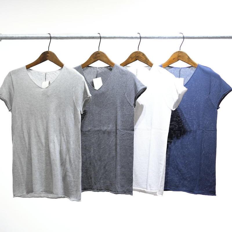 F/style ホールガーメントの綿ニット Vネック・フレンチ袖
