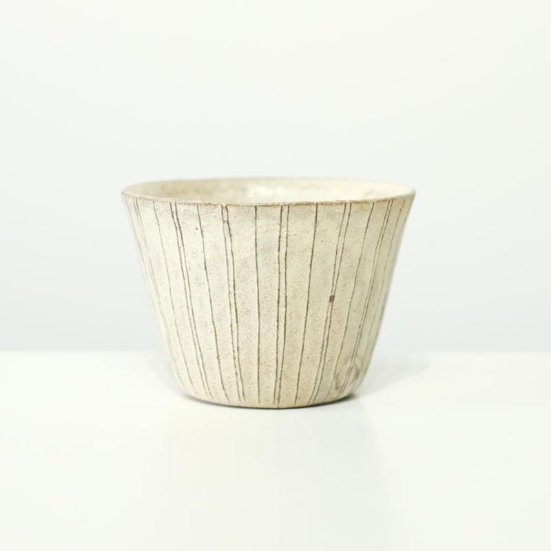 鈴木 進 粉引線紋フリーカップ(ストライプ模様)