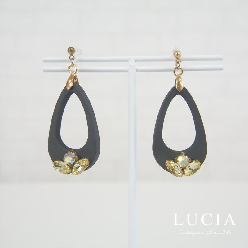 【LUCIA】ウッドビジューイヤリング【06WBE-1】