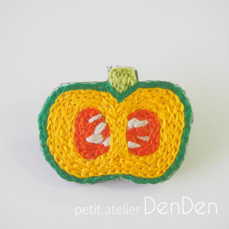 【DenDen】ブローチ◆かぼちゃ◆断面シリーズ【C05-019】