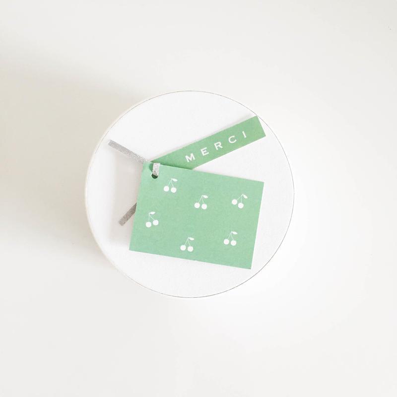 mini tag  Cerise vert printemps M E R C I  20枚