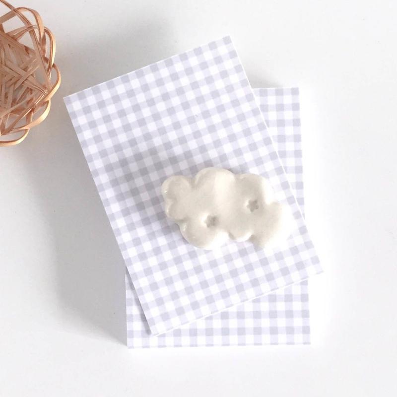台紙 ★ Carte à carreaux gris 30枚/縦型/横型 ギンガムチェック グレー